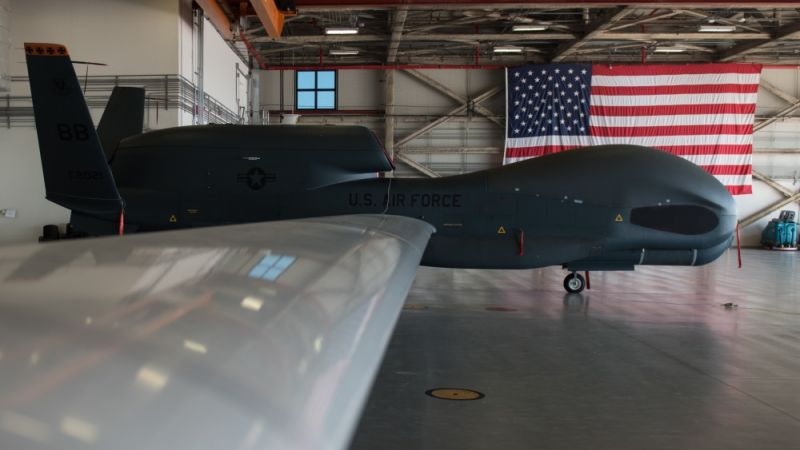 RQ-4 Global Hawk sits in hangar