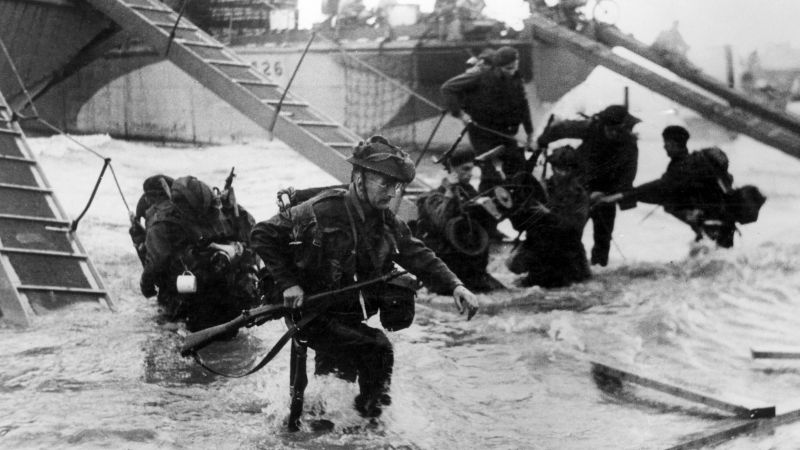 Royal Marine Commandos going ashore during D-Day