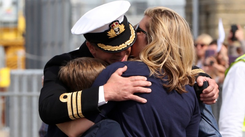 Royal Navy Family Unidentifiable Hug Homecoming Defence Imagery 45160242