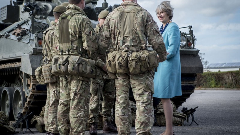 Theresa May With Troops