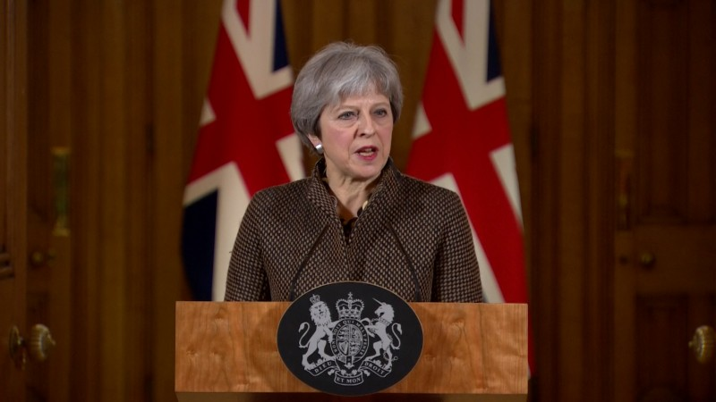 Theresa May speaks at a press conference regarding the strikes on Syria.