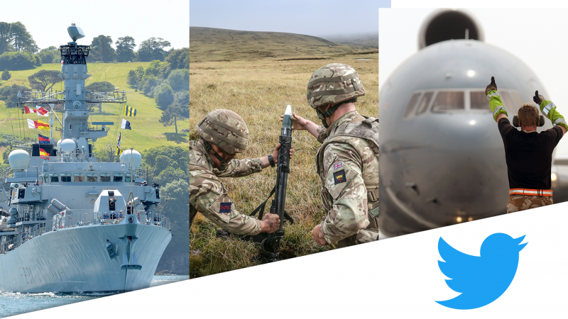 Collage of three Services featuring HMS Argyll, British Army soldiers shooting a mortar, and RAF groundcrew