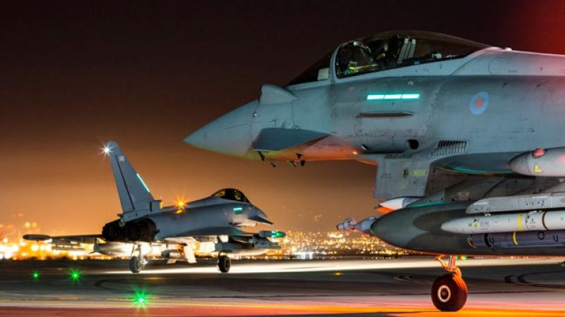 Typhoons taxi at RAF Akrotiri before night mission