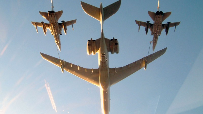 Royal Air Force VC10, in the tanker role, carries out the air-to-air refuelling of a two RAF Tornado F3s