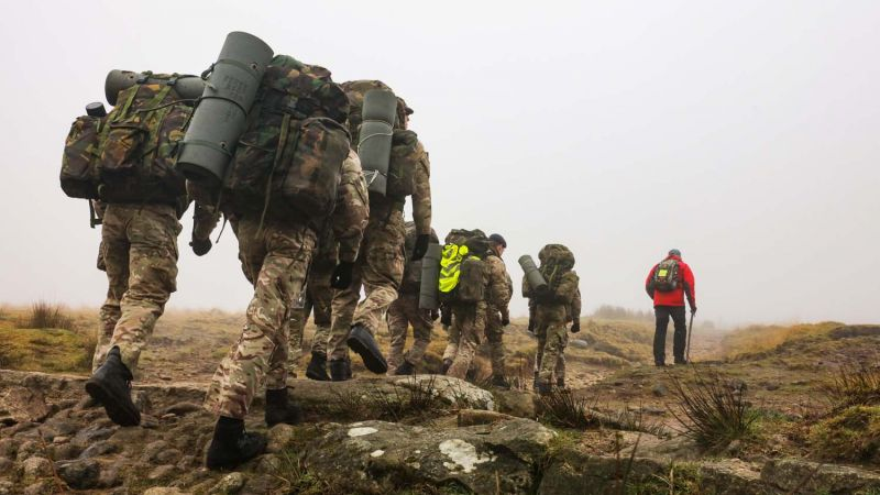 Veteran on Dartmoor with trainee sailors