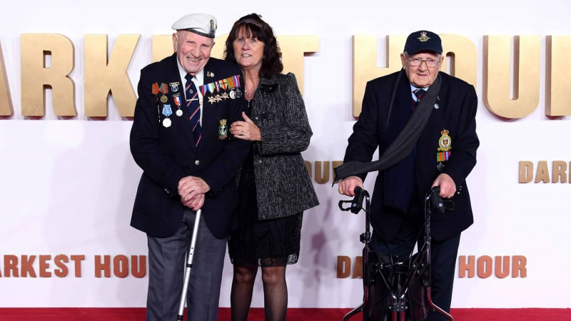 Veterans of the Second World War on the red carpet at the London premiere of film Darkest Hour
