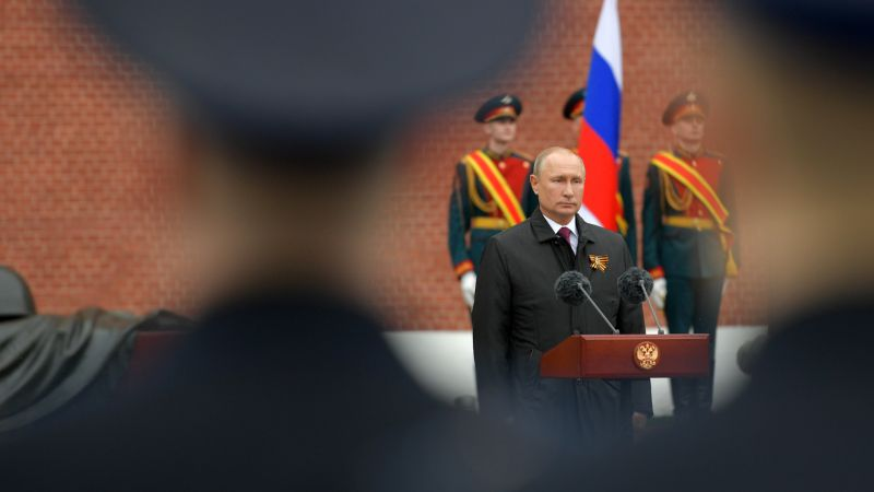 Vladimir Putin speaks during a flower laying ceremony marking the 75th anniversary of the victory over Nazi Germany in World War II at the Tomb of the Unknown Soldier 090520 CREDIT PA.jpg