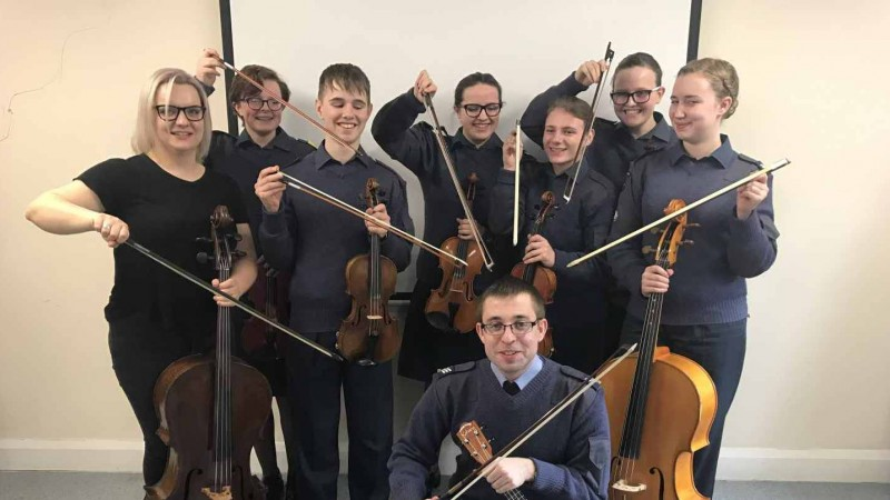 Cadets of Central & East Yorkshire Wing ATC string quartet double bass, violins, cello