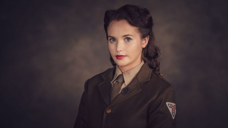 'World on Fire' actress Julia Brown wearing ENSA uniform. Credit: BBC pictures.