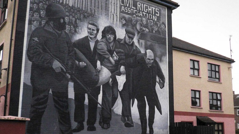 Bloody Sunday mural on side of house in Londonderry