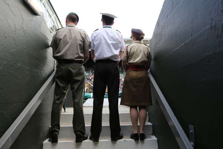 Private Richards in her gangway on Centre Court