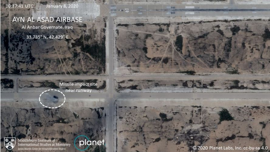 Impact near runway Al Asad 160120 CREDIT PLANET LABS You must leave the Middlebury Institute of International Studies at Monterey .jpg