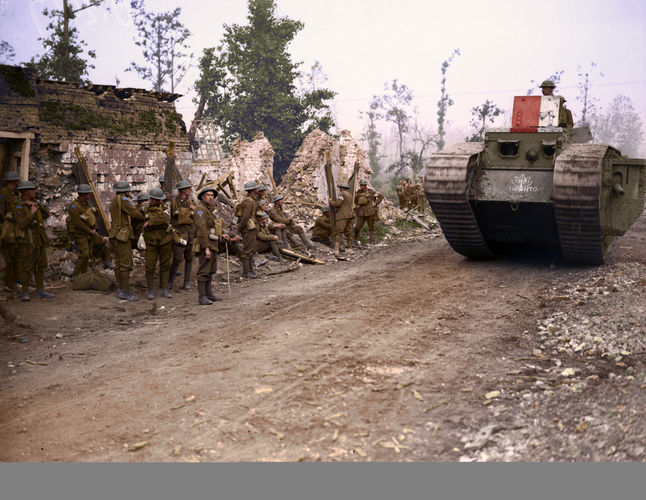 A Tank passing 8th Field Ambulance, Hangard, during Battle of Amiens (Picture: The Vimy Foundation).