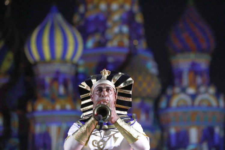 A member of the Egyptian Military Symphonic Band performs at Spasskaya Tower Festival 2019, Moscow (Picture: PA).