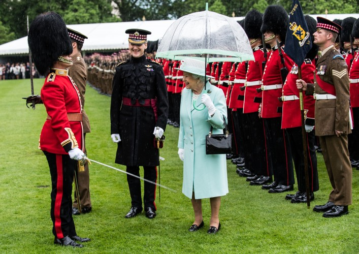Queen at a new colours ceremony for the Scots Guards (Picture: Crown Copyright).