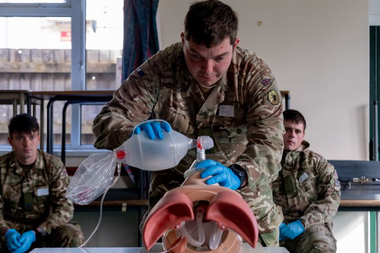 Soldiers receive medical training to prepare them for work with the Welsh Ambulance Service (Picture: MOD).