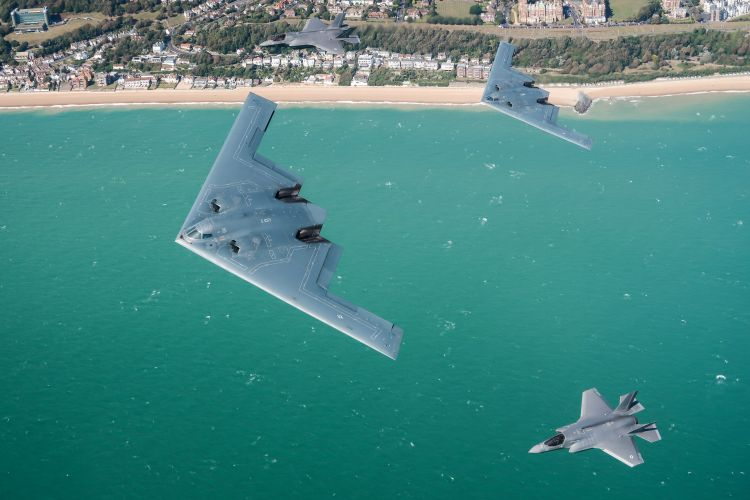 The exercise was the first time USAF B-2s trained with non-US F-35s (Picture: MOD).