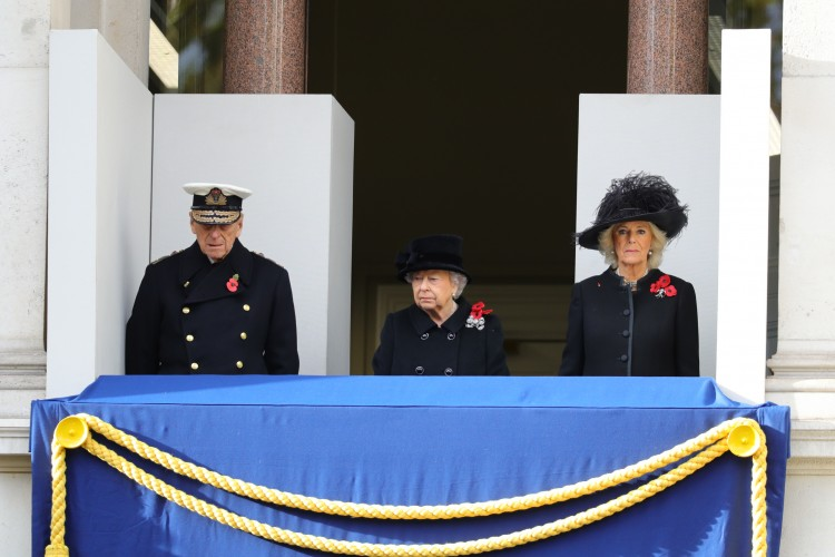 Queen and Duke of Edinburgh + Camilla - Remembrance Sunday 2017 at Cenotaph CREDIT: MOD