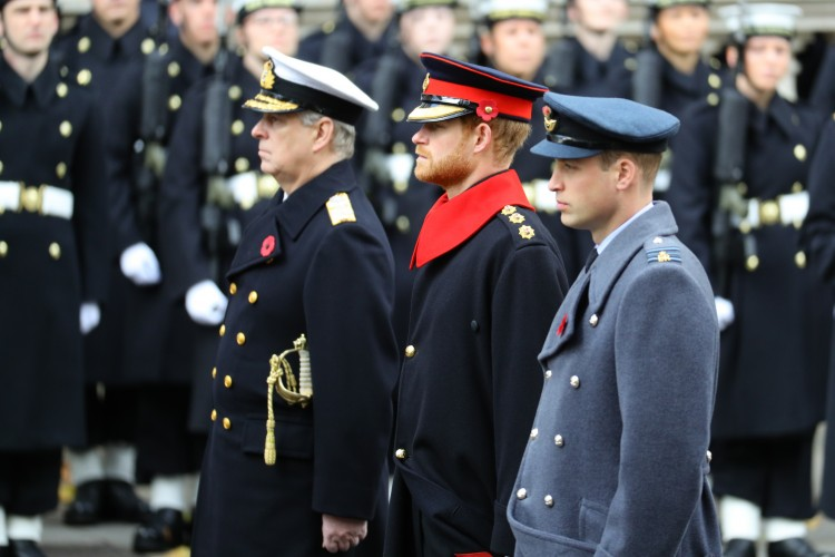 Prince William and Harry during Remembrance Sunday 2017 at Cenotaph - CREDIT: MOD