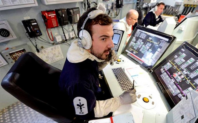 Bearded Royal Navy Sailor In Control Room