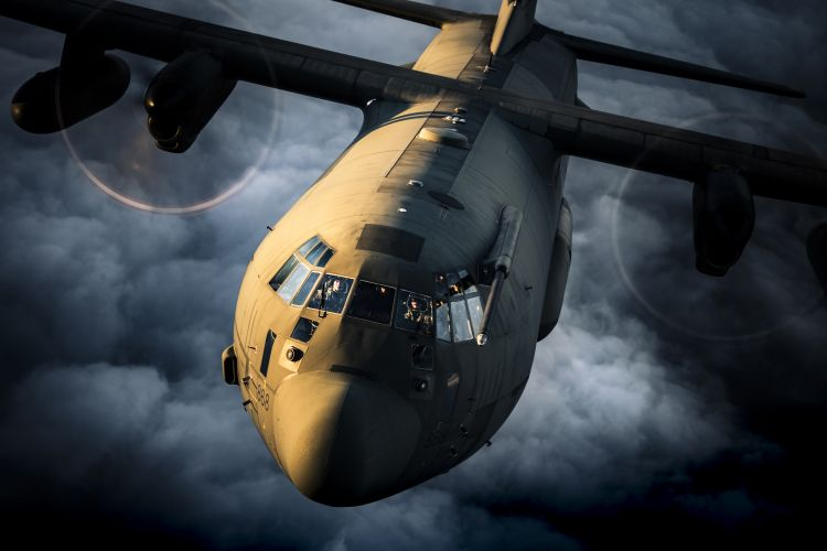 C130J Hercules captured by two photographers who were on the ramp of a second C130J CREDIT RAF