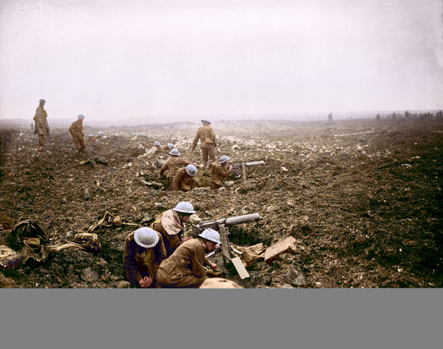 Canadian machine gunners dig themselves in, in shell holes on Vimy Ridge (Picture: The Vimy Foundation).