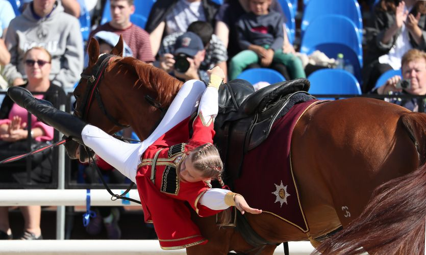 Children's trick and fancy horse riding competition at Spasskaya Tower Festival 2019, Moscow (Picture: PA).