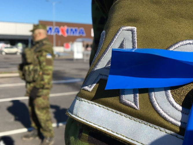 Troops spotted outside a local supermarket during the exercise in Estonia.
