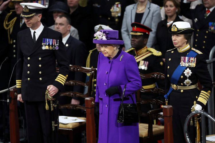 Alongside Princess Anne, The Queen attended the commissioning of aircraft carrier HMS Queen Elizabeth in 2017 (Picture: Royal Navy).