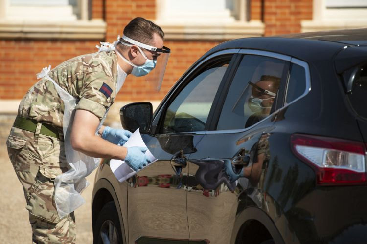 Grenadier Guards at vehicle based COVID19 Coronavirus mobile testing site in Dulwich