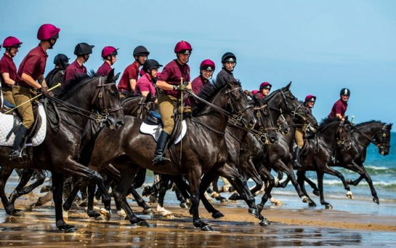 Household Cavalry on the beach in Norfolk closely 050719 Credit MOD