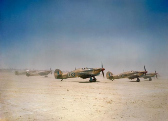 'Flying tin openers': Hurricane Mk IIDs of 6 Squadron prepare for take-off from Gabes in Tunisia, April 1943 (Picture: IWM).