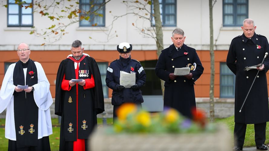 Hymns sung during Armistice Day commemorations at HMNB Devonport (Picture: Royal Navy).