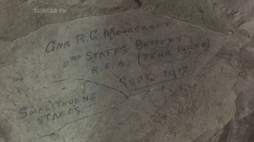 First World War graffiti remains engraved into the tunnel walls, acting as an insight into the soldiers' lives who served here.