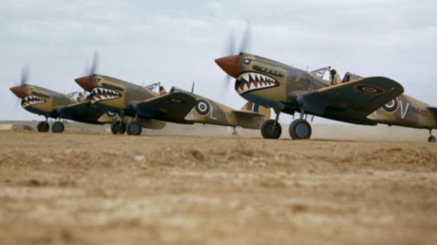 Kittyhawk Mk IIIs of 112 Squadron preparing to take off at a desert airstrip in Tunisia, April 1943 (Picture: IWM).