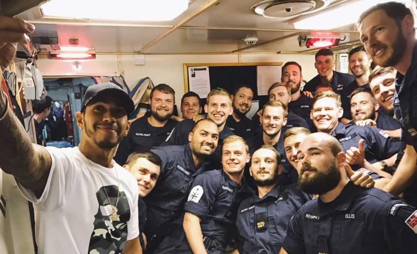 Lewis hamilton surprises sailors on hms middleton lewis hamilton takes a selfie with the crew of hms middleton m4hsunfo