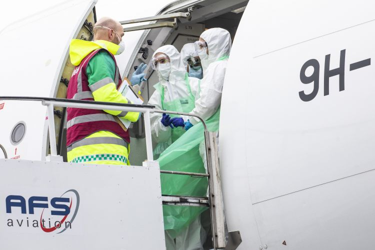 Medical personnel from RAF Tactical Medical Wing arrive at MOD Boscombe Down after supporting the repatriation of Britons stranded in Cuba (Picture: MOD).