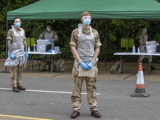 Members of Royal Anglian Regiment at mobile COVID19 Coronavirus testing facility