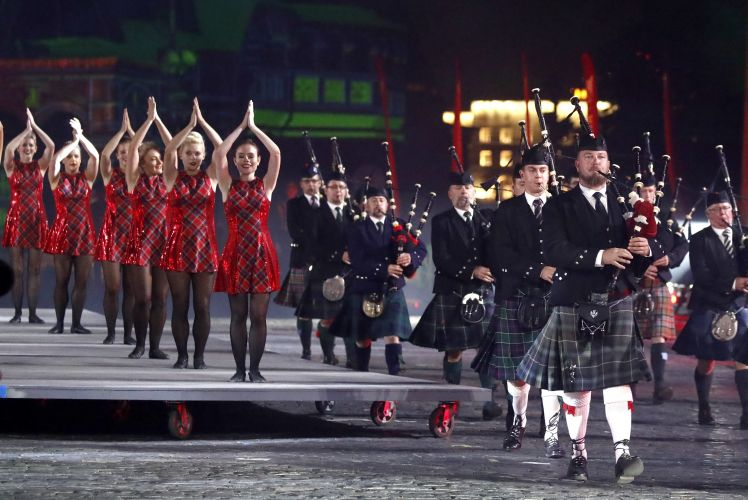 Members of the Celtic Massed Pipes and Drums Band at Spasskaya Tower Festival 2019, Moscow (Picture: PA).