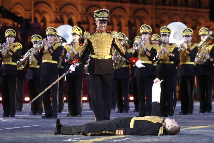 Members of the Central Military Band of the Russian Defense Ministry at Spasskaya Tower Festival 2019, Moscow (Picture: PA).