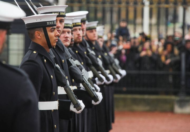Sailors stand to attention (Picture: Royal Navy).