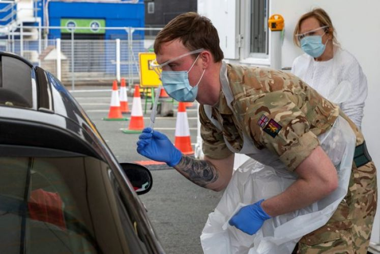 Personnel from across the military came together at Edgbaston Cricket Ground, Birmingham to be trained to deliver Covid-19 testing to NHS personnel (Picture: MOD).