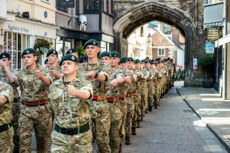 Personnel parade through Salisbury on Armed Forces Day