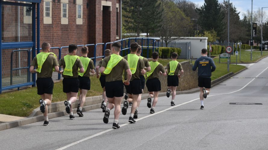 Personnel run as part of the Captain Tom 100 Challenge (Picture: MOD).
