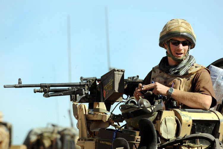Prince Harry in spartan vehicle in Afghanistan 2008 CREDIT PA
