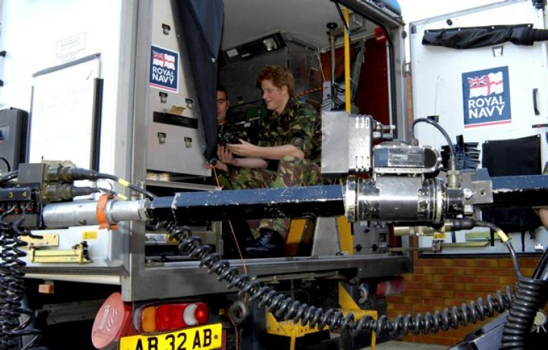 Prince Harry sitting in Royal Navy bomb disposal vehicle 311007 CREDIT MOD