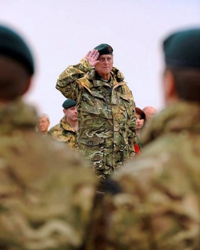 The then-Captain General of the Royal Marines, Prince Philip takes the salute from the Commando Logistics Regiment during a home coming parade in Barnstaple, Devon, November 2011.