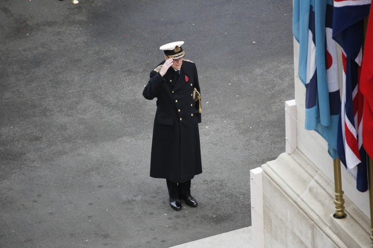 Prince Philip salutes during the Field of Remembrance at Westminster Abbey, November 2015 (Picture: Crown Copyright).