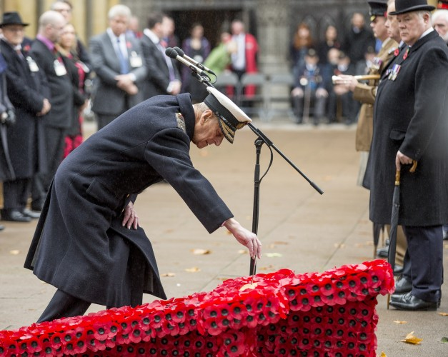 Prince Philip lays a wreath during the Field of Remembrance at Westminster Abbey, November 2015 (Picture: Crown Copyright).