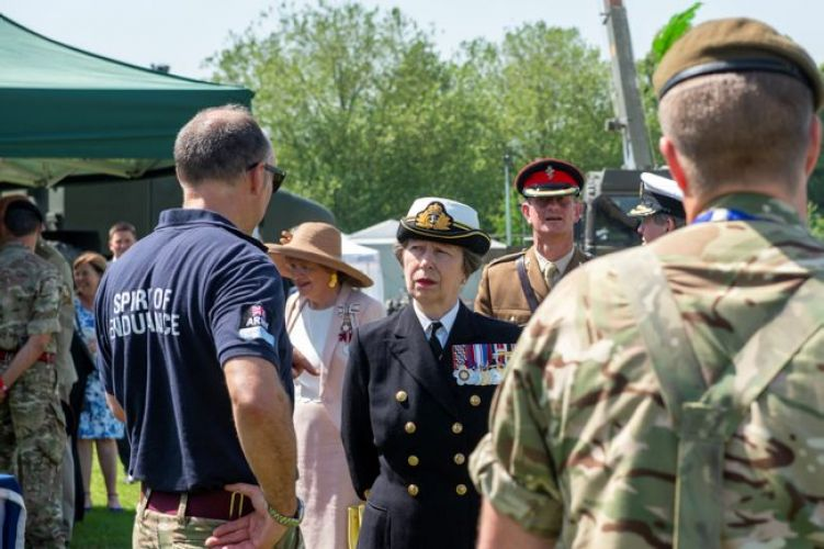 Princess Anne meeting personnel at Salisbury military village